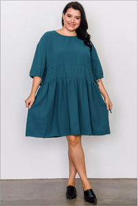 Tie-Sleeve Midi Dress {PLUS SIZE}
