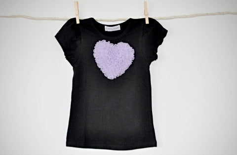 black T top with lavender heart