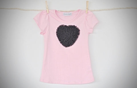 pink T top with black heart