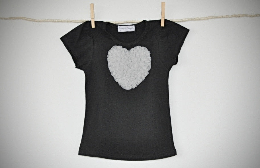 black T top with silver grey heart