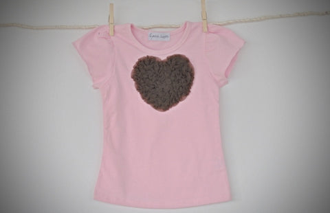 pink T top with brown heart