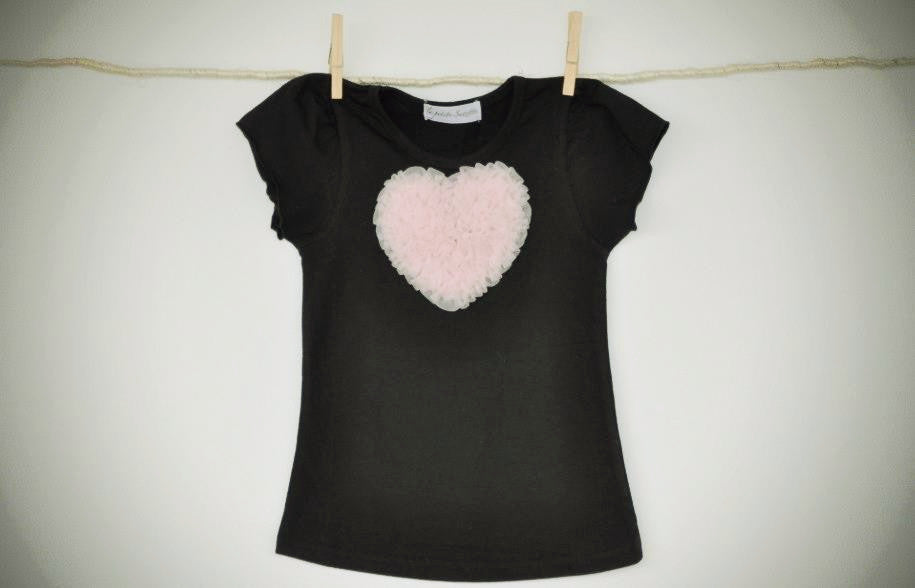 black T top with peach pink heart
