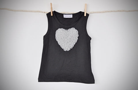 black sleeveless top with silver grey heart