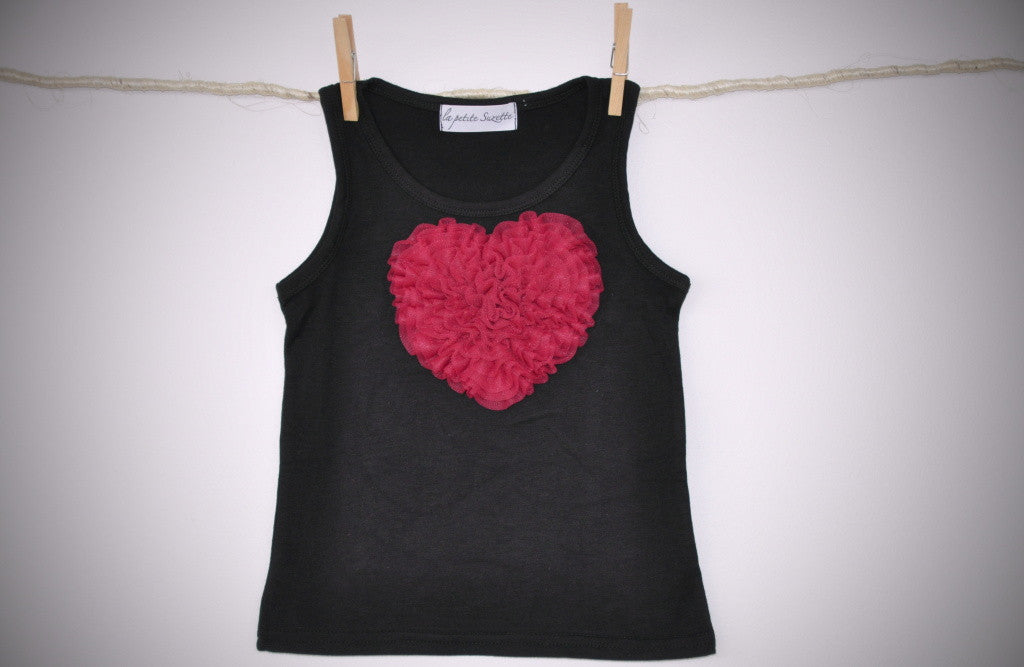 black sleeveless top with raspberry heart