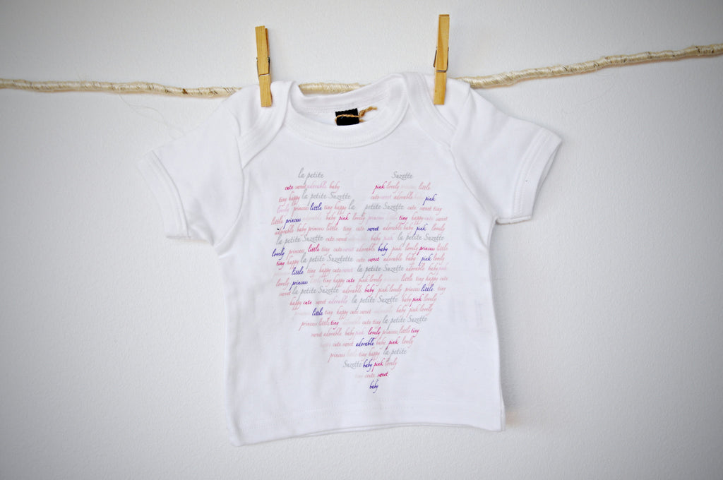 baby T top with names heart