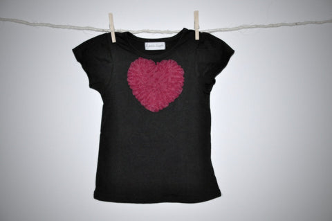 black T top with raspberry heart