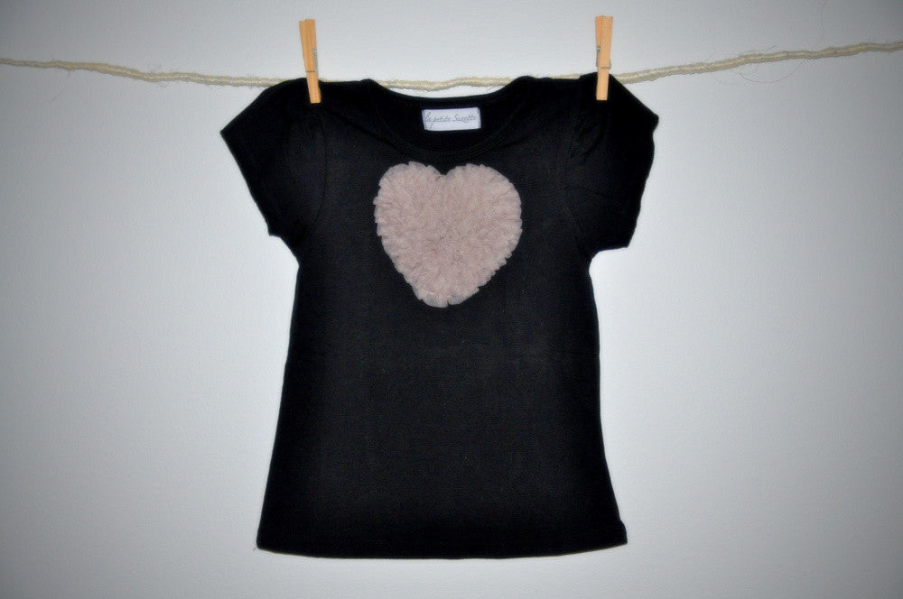 black T top with dusky pink heart