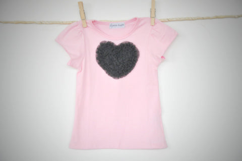 pink T top with smokey grey heart