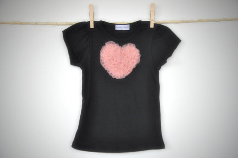 black T top with tea rose heart