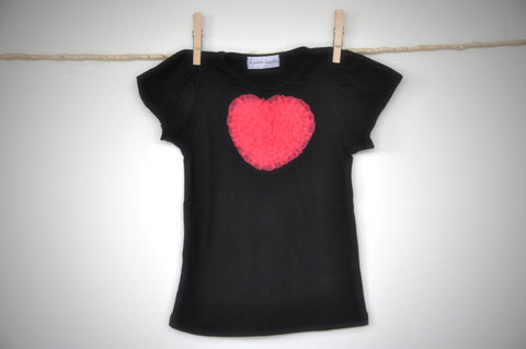 black T top with watermelon heart