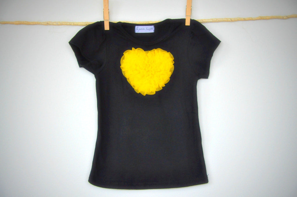 black T top with dandelion heart