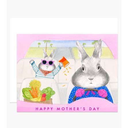 Mom Driving Bunny Card