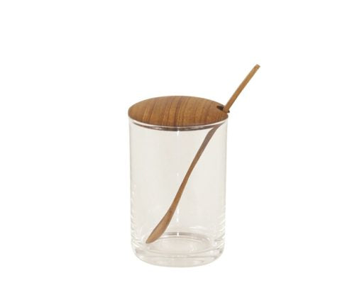 Glass Mini Cellar with Teak Lid & Spoon, Tall