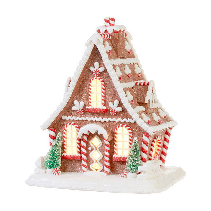 Lighted Red Accented Gingerbread House