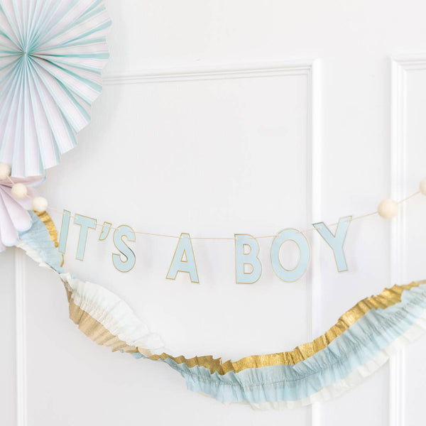 Blues Crepe Paper Banner
