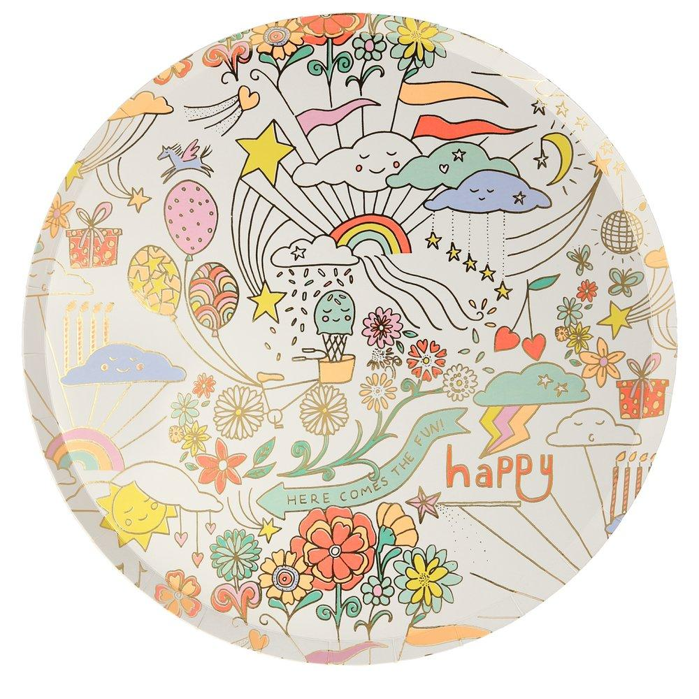Happy Doodle Dinner Plates