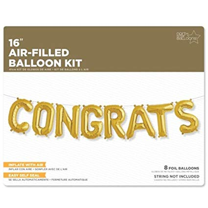"""Congrats"" Balloon Kit Gold"