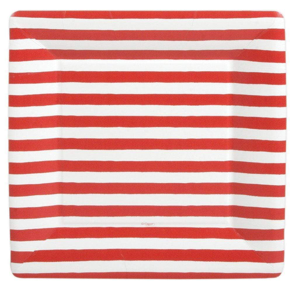 Red & White Striped Dinner Plates