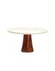 White Marble & Wood Cake Stand, Large
