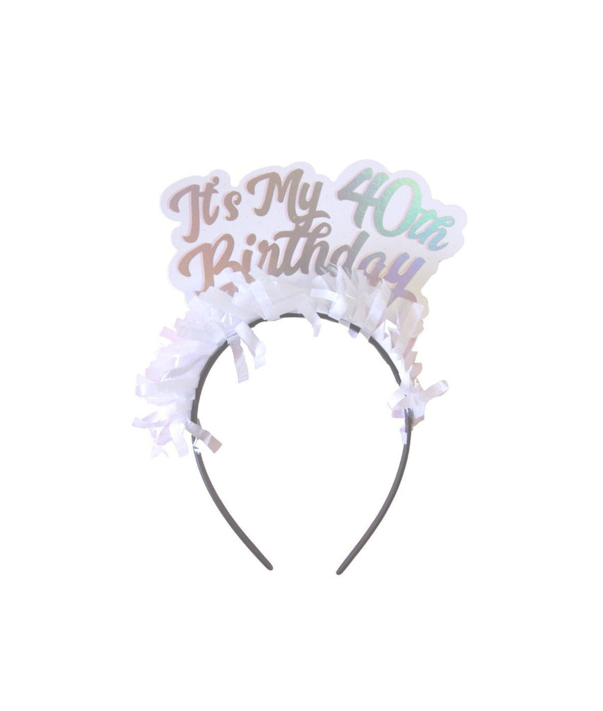 40th Birthday Headband Pink Antlers