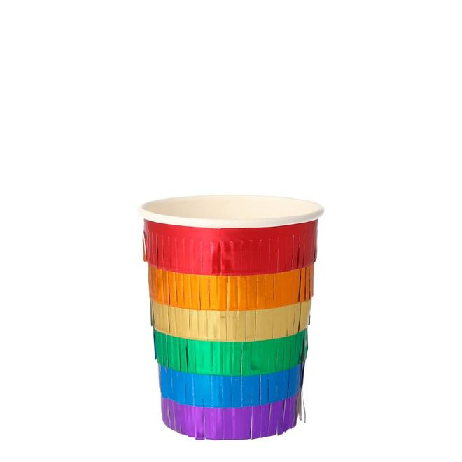 Rainbow Fringe Party Cups
