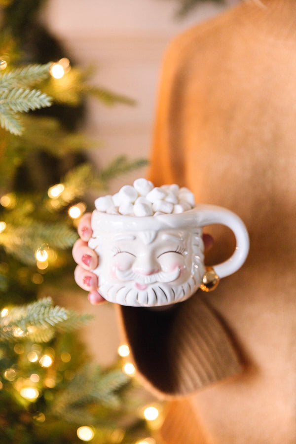 Papa Noel Cream Mug - Eyes Closed