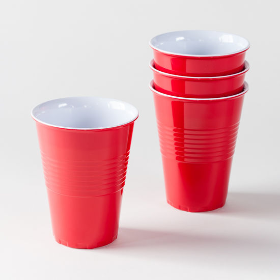 Large Red Melamine Cups Set of 4