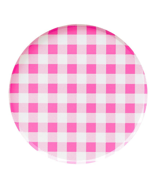 Neon Rose Gingham 9in Plates