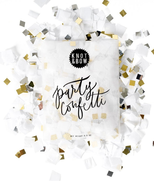 White Metallic Confetti Bag