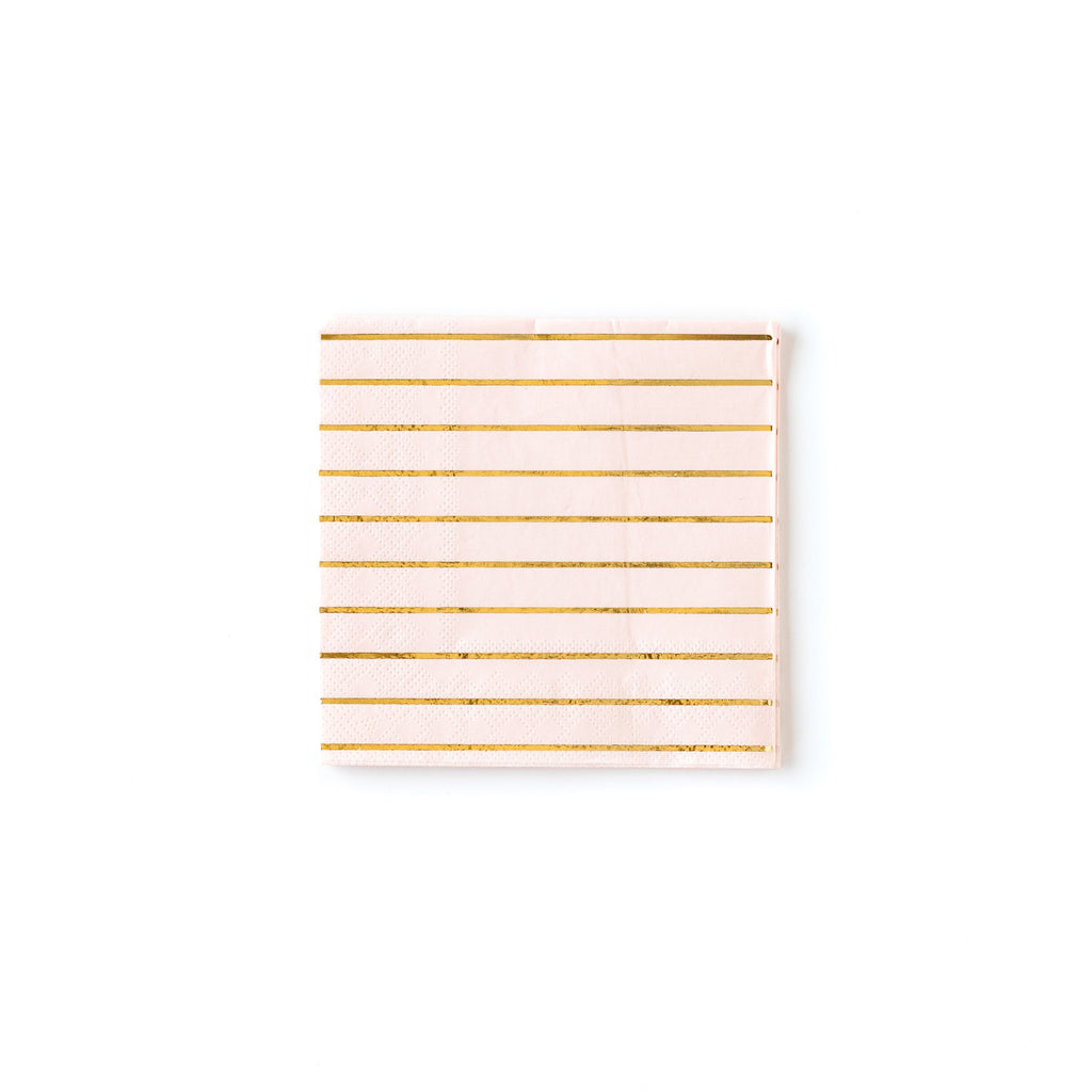 "Blush Stripe 5"" Napkins"