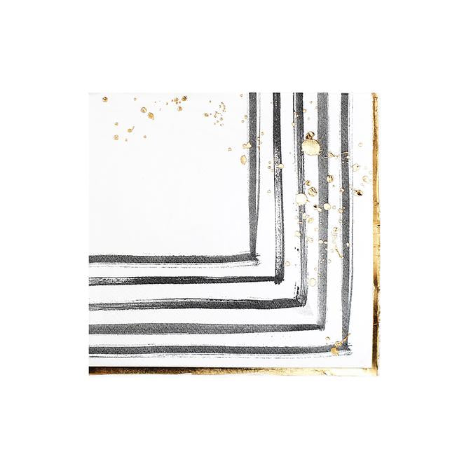 Black & White Brush Stroke Napkins Small