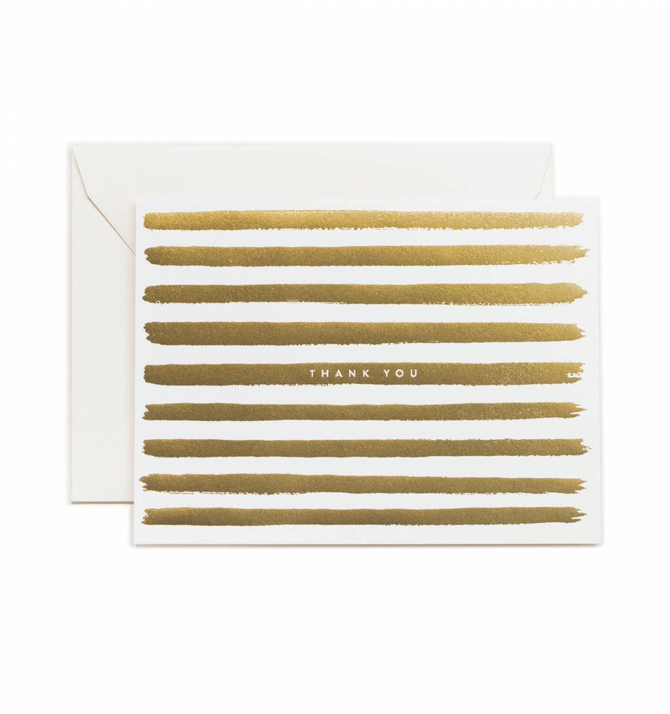 Gold Stripes Thank You Card