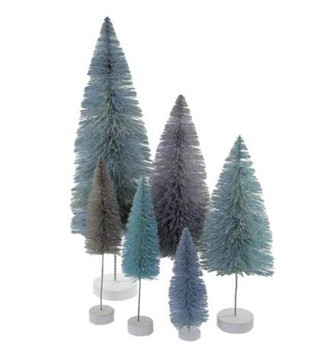 Winter Blue Trees Set of 6