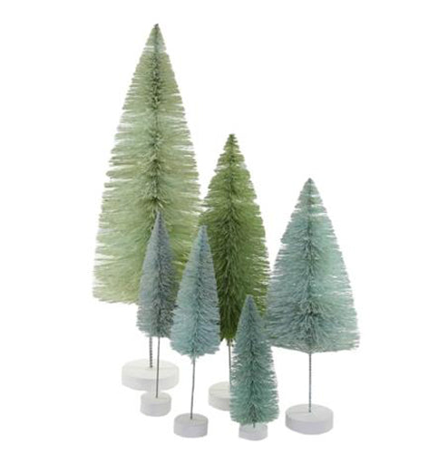 Winter Green Trees Set of 6