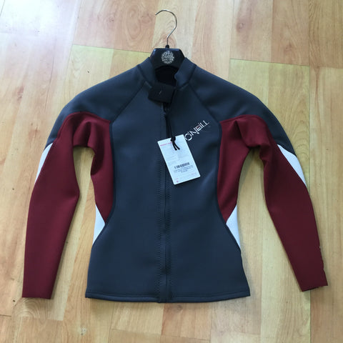 Oneill Womens Bahia Full Zip 1mm Jacket - Grey/Maroon