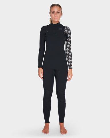 2019 Billabong FURNACE CARBON COMP 3/2 CHEST ZIP - Black Print