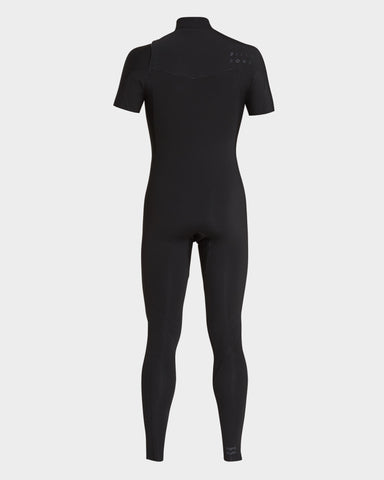2019 Billabong FURNACE REVOLUTION 2/2 CHEST ZIP SHORT ARM STEAMER - BLACK