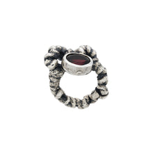 Load image into Gallery viewer, Solmu Ring with Stone - Oxidised Silver