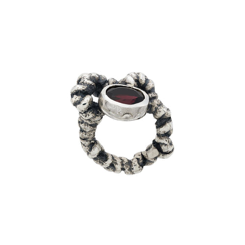 Solmu Ring with Stone - Oxidised Silver