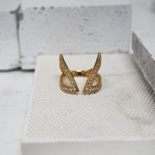 Load image into Gallery viewer, Cut-Out Claavi Ring - 14k Gold, Diamonds