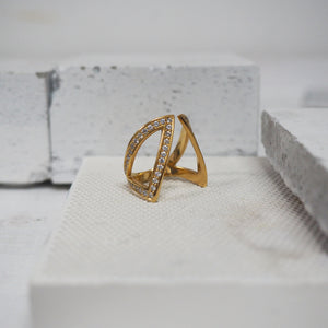 Cut-Out Claavi Ring with Pave Diamonds