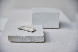 Mens Textured Linea Ring - Oxidised Silver