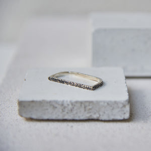 Textured Linea Ring - Oxidised Silver