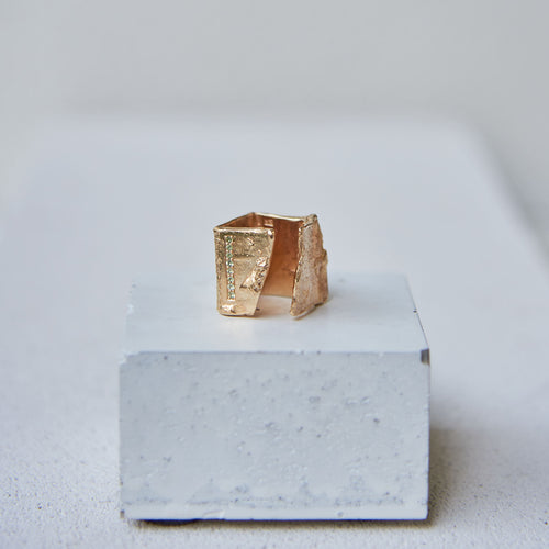 Broken Pared Ring w. Tourmailine *LAST PIECE*