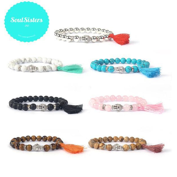 SoulSisters All Products Handmade Armband Ibiza Buddha Quarz Perlen Türkis