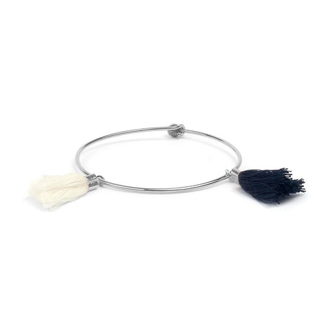 SoulSisters All Products SoulSisters Armreif Bali Silber Elegant mit Blau Weißer Quaste