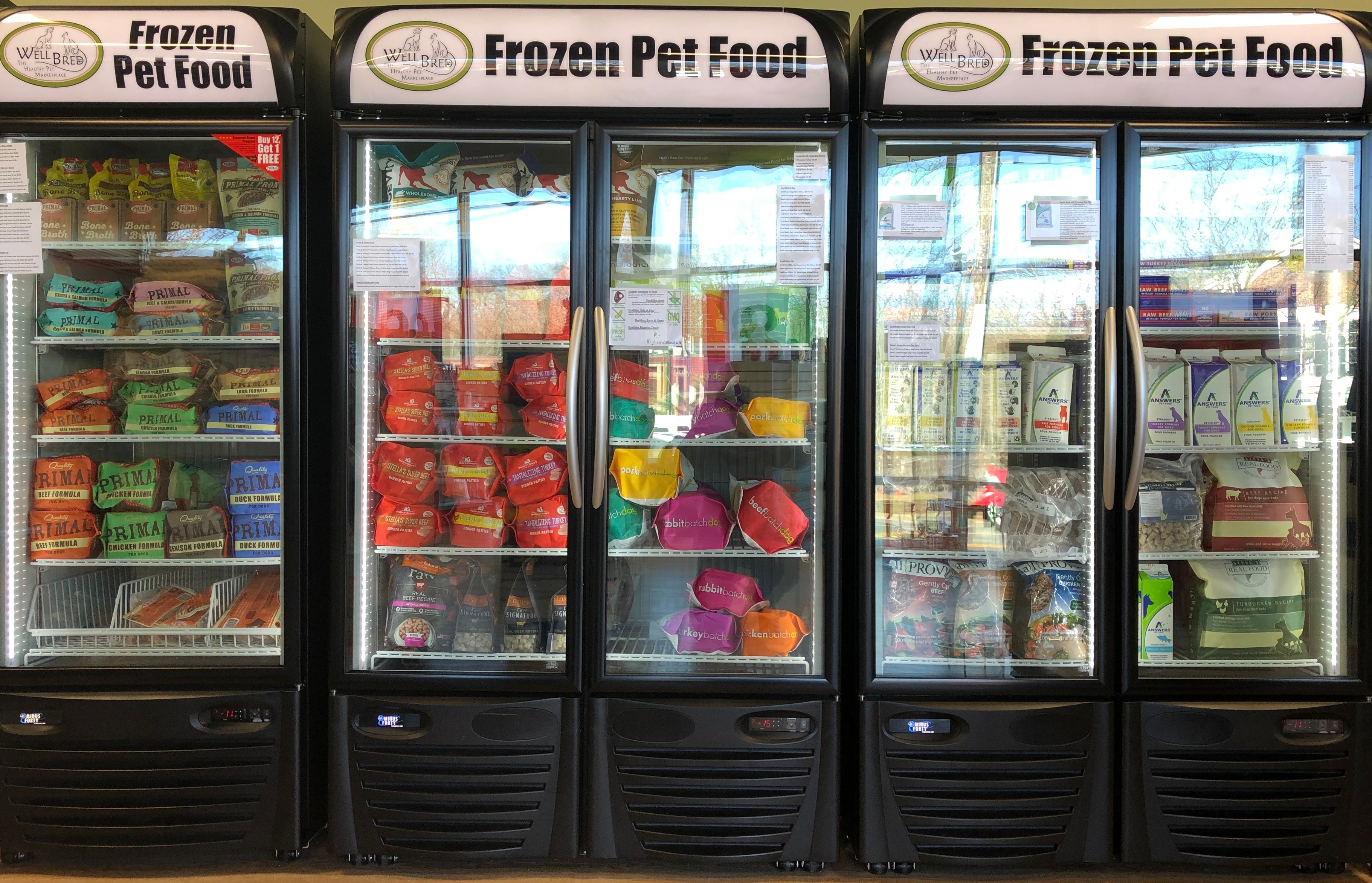 Our freezers in Livingston (raw and gently cooked foods)