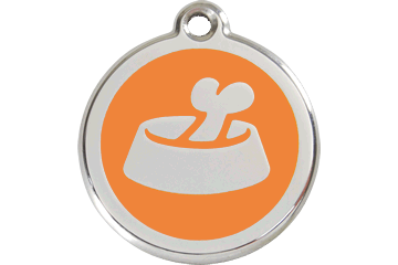 Red Dingo Enamel Pet ID Tag Bone in the Bowl (1BB), Small