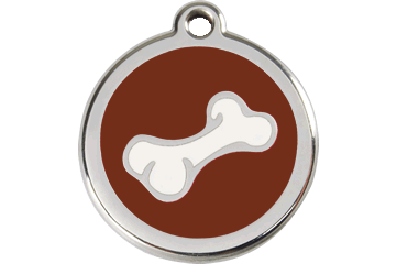 Red Dingo Enamel Pet ID Tag Bone (1BO), Large