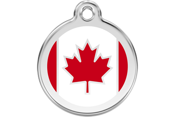 Red Dingo Enamel Pet ID Tag Canadian Flag (1CA), Large